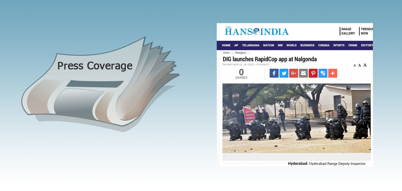 Press: RapidCop launch at Nalgonda - The Hans India