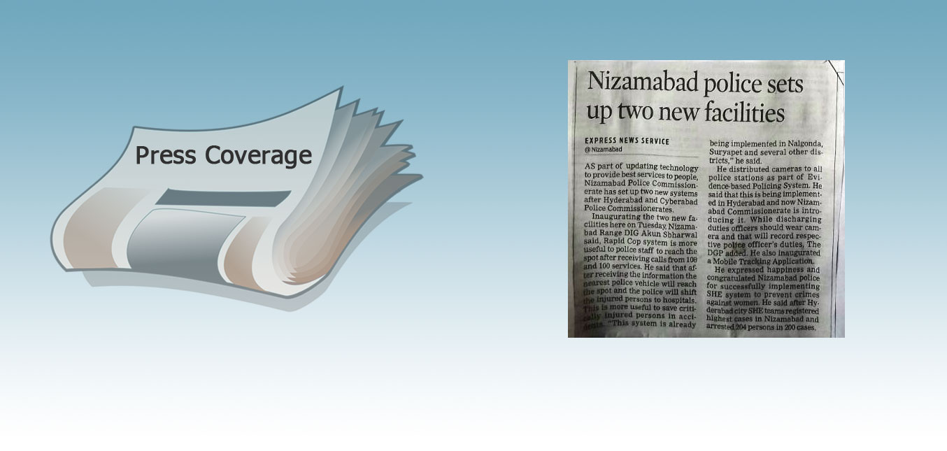 Press: RapidCop launch at Nizamabad - The Indian Express